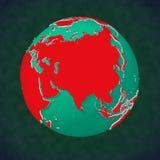 Kontinental sikt Asien för jord stock illustrationer