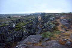 Kontinental skiljelinje i den Thingvellir nationalparken Royaltyfria Foton
