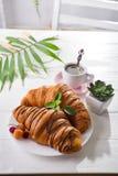 Kontinentales gebackenes Hörnchen des Frühstücks frisch verziert mit Stau und Schokolade auf Holztisch in einer Küche mit Kopie stockfotografie