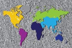 Kontinentalt av världskarta Royaltyfri Bild