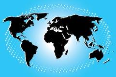 Kontinentalt i svart av världskartan på blåa Art Background Arkivfoto