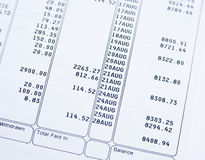 Kontoauszug. Lizenzfreies Stockfoto
