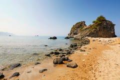 Kontogialos strand på Korfu, Grekland Arkivbilder