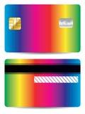 kontokortdesignregnbåge royaltyfri illustrationer