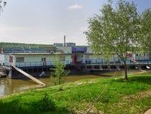 Kontor av Galati fäller ned den Danube River administrationen i Braila, Rumänien Arkivfoto
