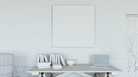 kontor 3D med tom kanfas på tegelstenväggen stock illustrationer