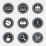 Kontor, dokument och affärssymboler royaltyfri illustrationer