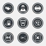Kontor, dokument och affärssymboler stock illustrationer