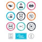 Kontor, dokument och affärssymboler vektor illustrationer