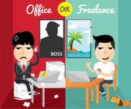 Kontor eller frilans, lägenhetdesign, teckendesign vektor illustrationer