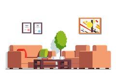 Kontor eller väntande rum för klinik med kaffetabellen stock illustrationer
