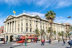 Kontor för Agencia Tributaria skattsamlare på port Vell i Barcelona arkivbild