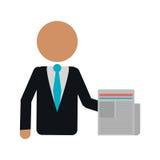 Kontor för arbete för dokument för affärsman stock illustrationer