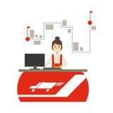 Kontor för hemsändningföretag med chefen Responsible For Planning och Scheduling sändningen royaltyfri illustrationer