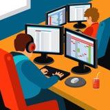 Kontor för programvaruutveckling stock illustrationer
