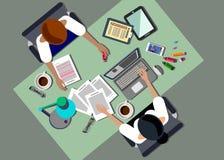 Kontor för symbol för skrivbord för vektor för affärsdator stock illustrationer
