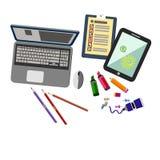 Kontor för symbol för skrivbord för vektor för affärsdator vektor illustrationer