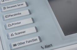 Kontor fax, kopieringsmaskin, nära övre för startknapp Arkivfoton