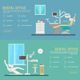 Kontor för plana baner för vektor tand- med plats- och utrustninghjälpmedel Medicinsk fåtöljillustration Färgrik mall för Royaltyfri Foto