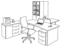 Kontor i en skissastil vektor illustrationer