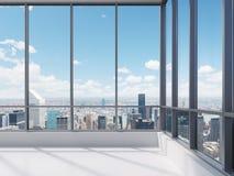 Kontor med det stora fönstret royaltyfri foto