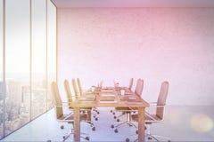 Kontor med New York City panorama Fotografering för Bildbyråer