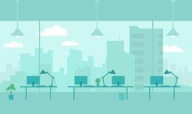 Kontor med sikt från fönsterstad Arbetsplatsrum Skyskrapor och storstad utanför fönstret Plan färgvektor stock illustrationer