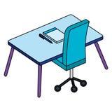 Kontor med skrivbordet och anteckningsboken vektor illustrationer