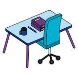 Kontor med skrivbordet och böcker royaltyfri illustrationer