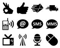 Kontor och kommunikationssymbolsset stock illustrationer