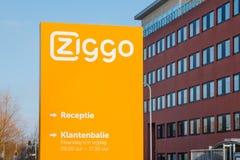 Kontor och kundtjänstskrivbord av Ziggo, den största kabelopen Arkivfoto