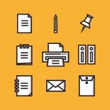 Kontor och plana symboler för finans Fotografering för Bildbyråer
