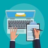 Kontor och teknologi stock illustrationer