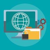 Kontor och teknologi royaltyfri illustrationer