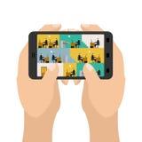 Kontor på minnestavlaleken Affär i en smartphone Handhållgadg royaltyfri illustrationer