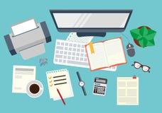 kontor Realistisk arbetsplatsorganisation övre sikt konstruktionsillustrationmateriel under vektor stock illustrationer