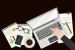 kontor Realistisk arbetsplatsorganisation övre sikt också vektor för coreldrawillustration stock illustrationer
