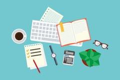 kontor skrivbord ovanför sikt Plan vektorillustration stock illustrationer