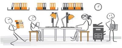 Kontor - skrivbordjobb stock illustrationer