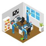 Kontor som gör ren isometrisk sammansättning royaltyfri illustrationer
