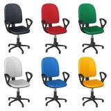 Kontor som kretsar rullstolen, sex olika stoppningfärger - svart, rött, grönt, vitt, blått och gult stock illustrationer