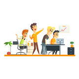 Kontor Team Chering vektor illustrationer