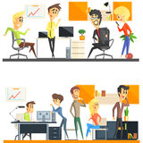 Kontor Team Two Illustrations Set Arkivbild