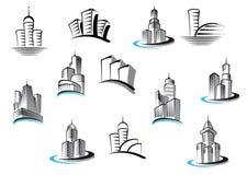 Kontor, telekommunikation och bostads- vektor illustrationer