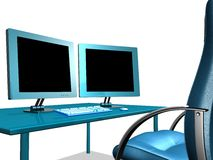 KONTORET LCD ÖVERVAKAR royaltyfri foto