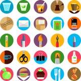 Kontoret och munchies sänker symbolsuppsättningen Fotografering för Bildbyråer