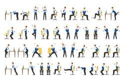 Kontorsövningsuppsättning Kroppgenomkörare för kontor royaltyfri illustrationer