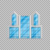 Kontorsaffärsbyggnad isolerade framlänges i stil på genomskinlig bakgrundsvektorillustration royaltyfri illustrationer