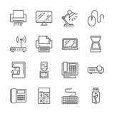 Kontorsapparatsymboler stock illustrationer