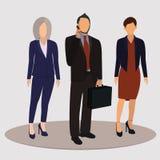 Kontorsarbetare, affärsfolk i affärsdräkter också vektor för coreldrawillustration vektor illustrationer